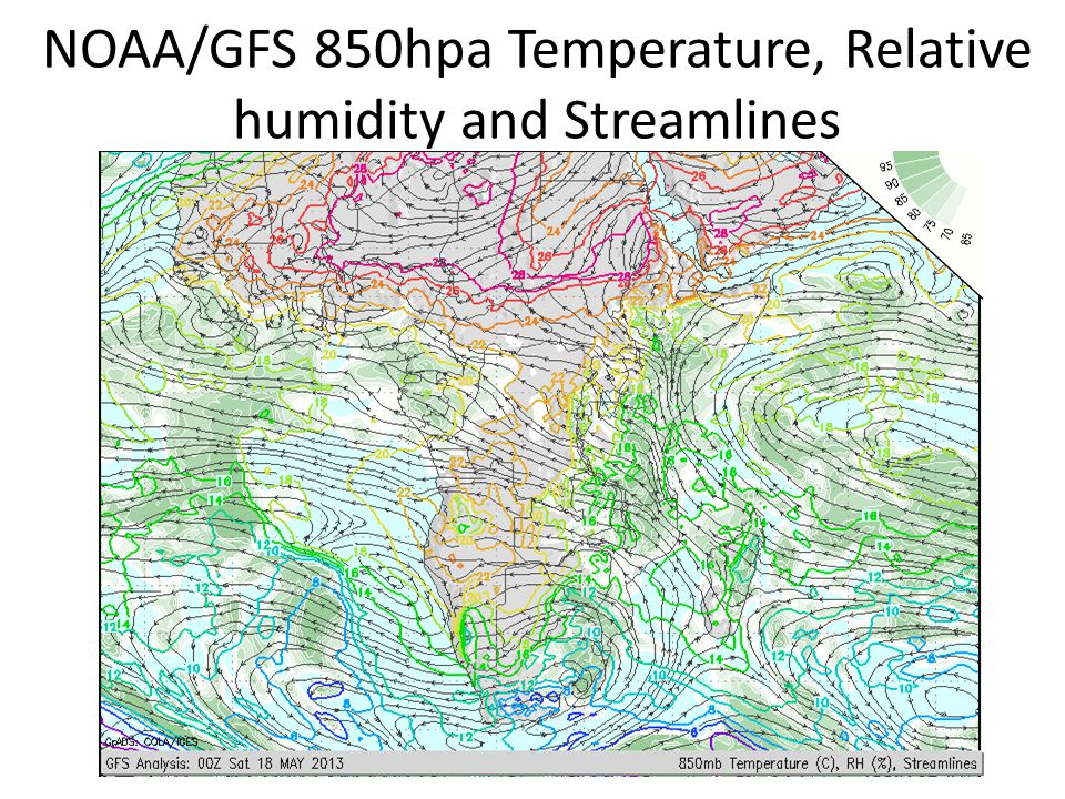 NOAA/GFS 850hpa Temperature, Relative humidity and Streamlines
