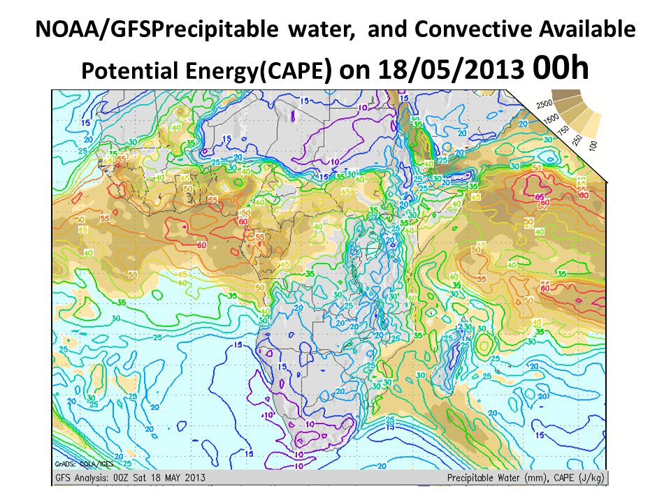 NOAA/GFSPrecipitable water, and Convective Available Potential Energy(CAPE) on 18/05/2013 00h