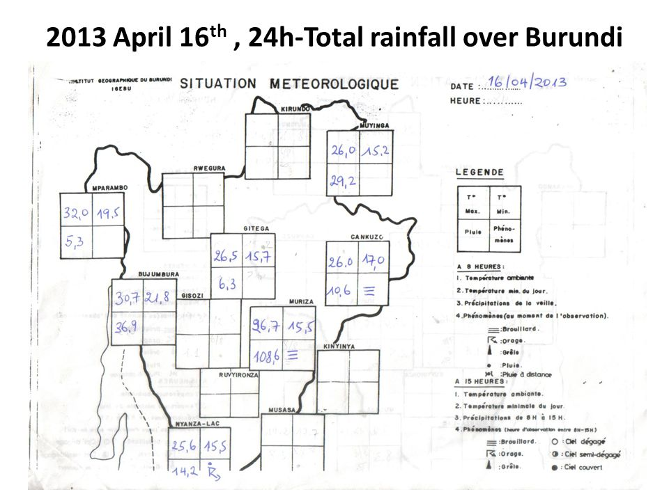 2013 April 16th , 24h-Total rainfall over Burundi