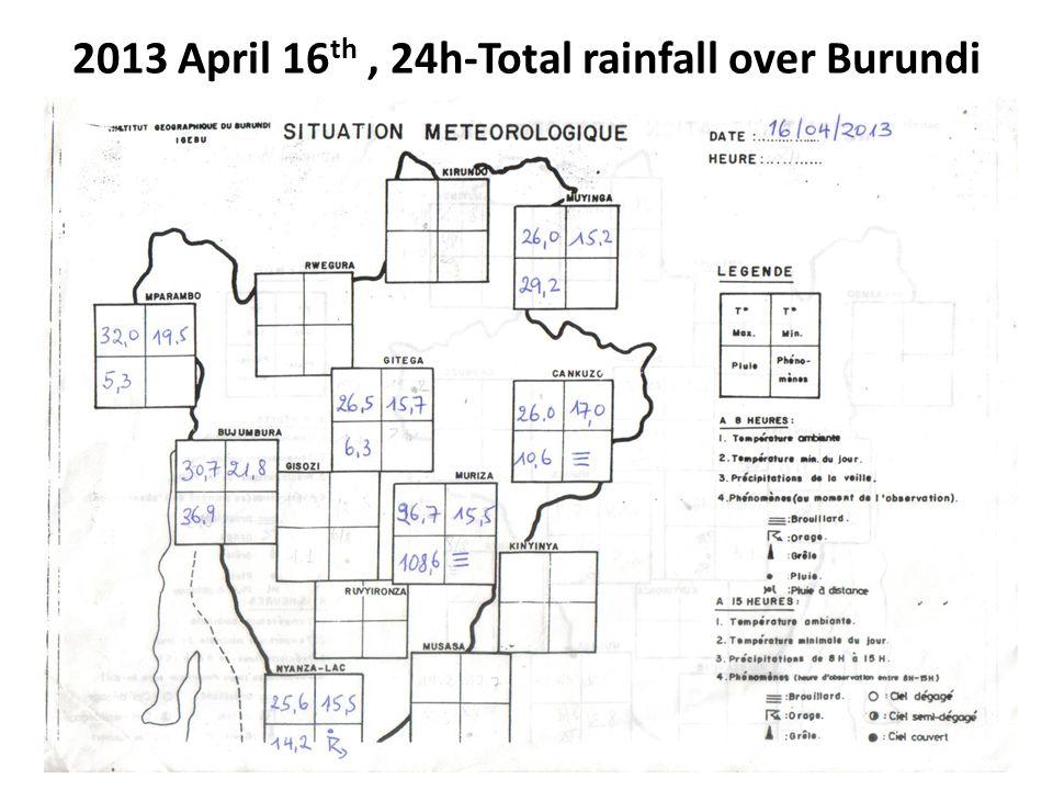 2013 April 16th , 24h-Total rainfall over Burundi