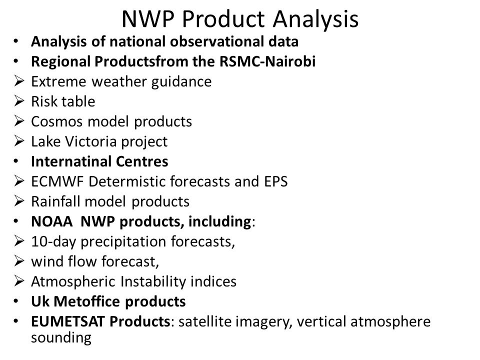 NWP Product Analysis Analysis of national observational data