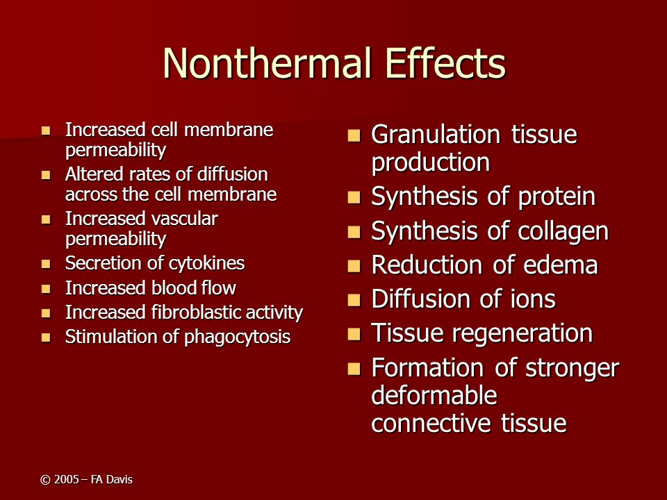 Nonthermal Effects Granulation tissue production Synthesis of protein
