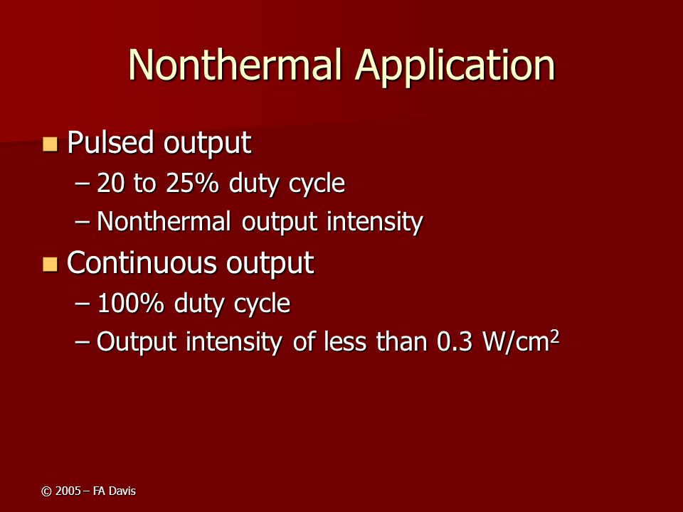 Nonthermal Application