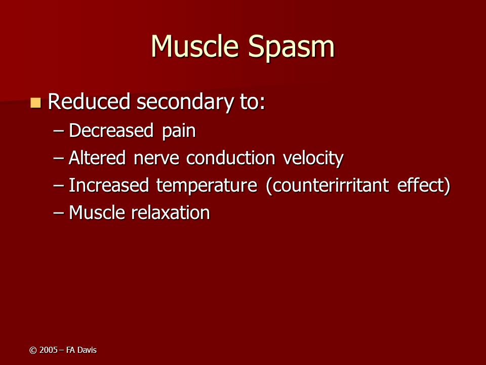 Muscle Spasm Reduced secondary to: Decreased pain