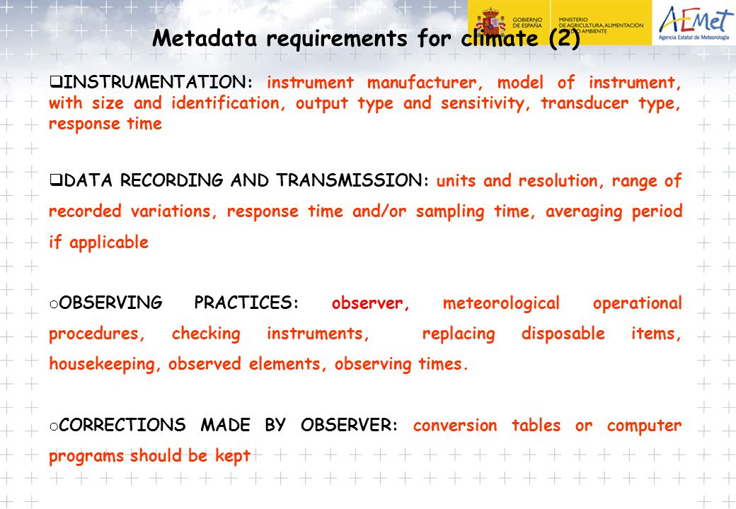 Metadata requirements for climate (2)