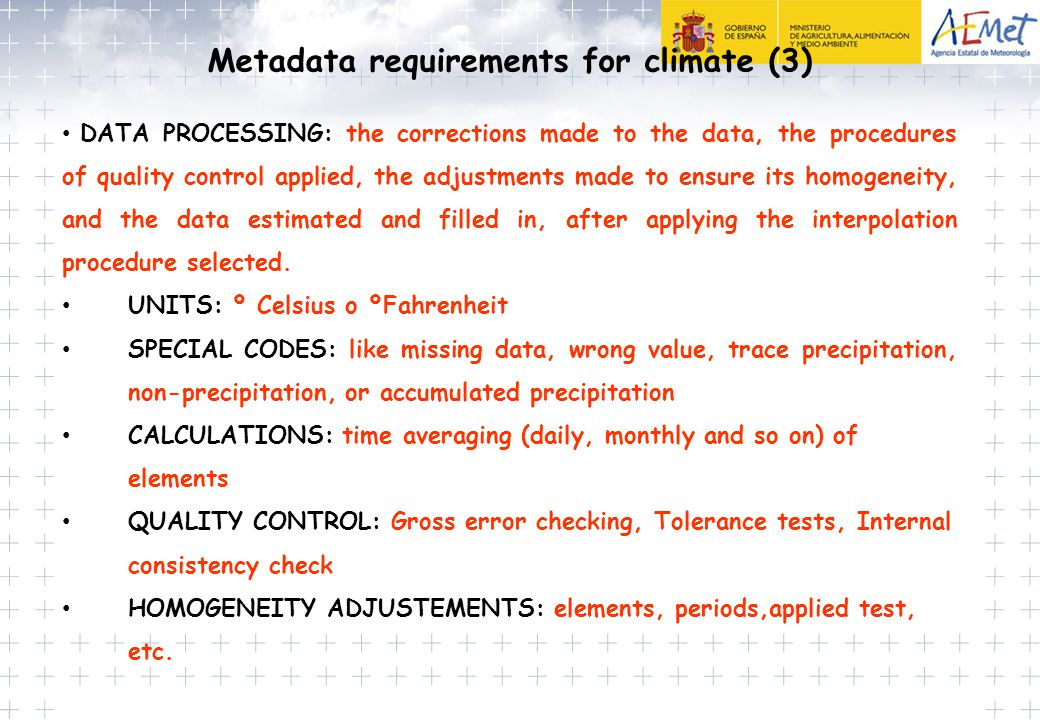 Metadata requirements for climate (3)