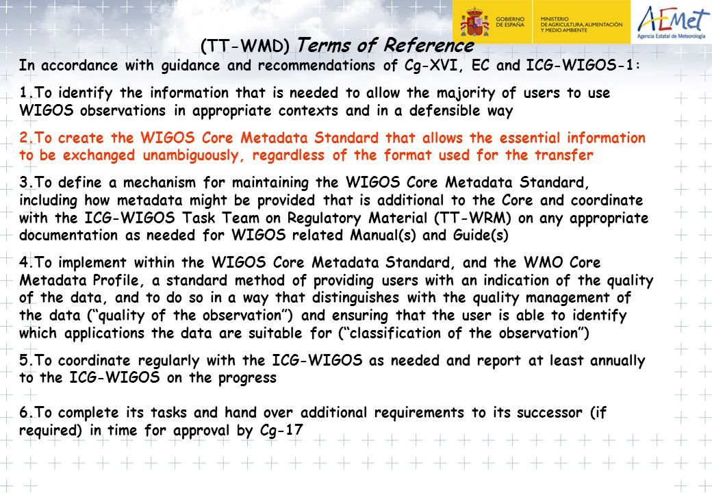 (TT-WMD) Terms of Reference