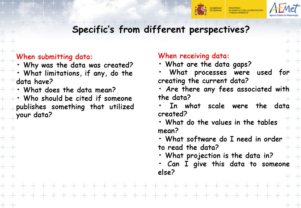 Specific's from different perspectives