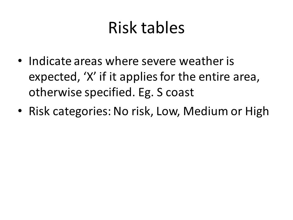 Risk tables Indicate areas where severe weather is expected, 'X' if it applies for the entire area, otherwise specified. Eg. S coast.