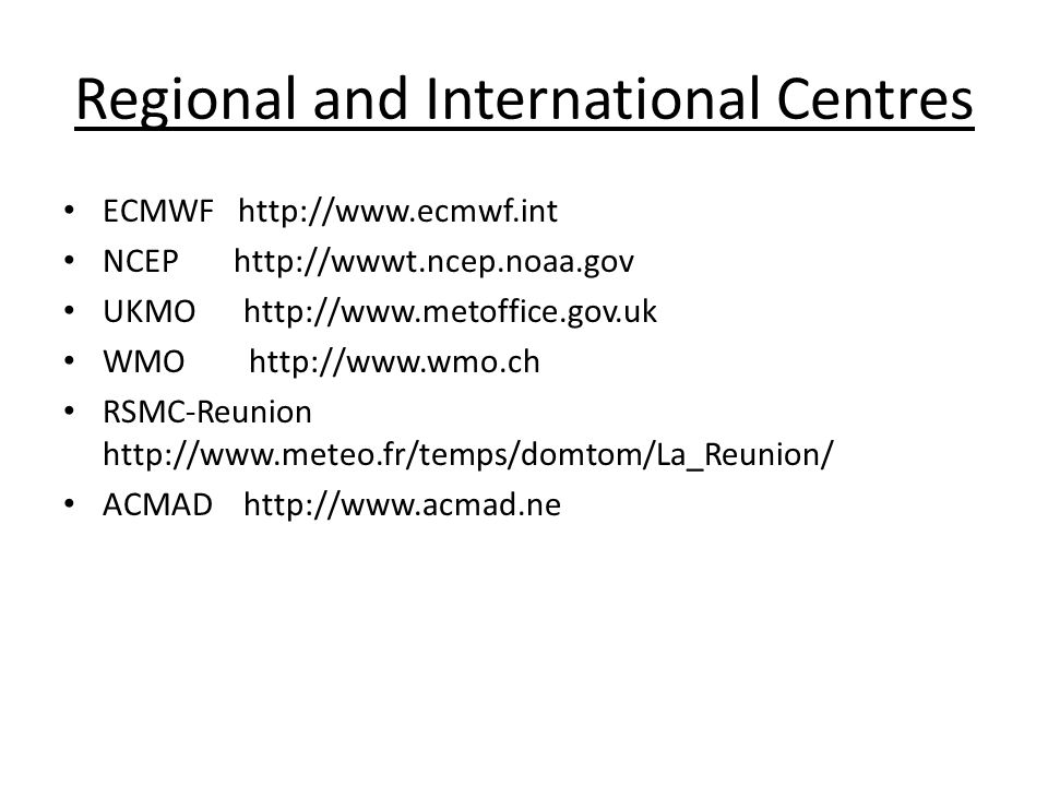 Regional and International Centres