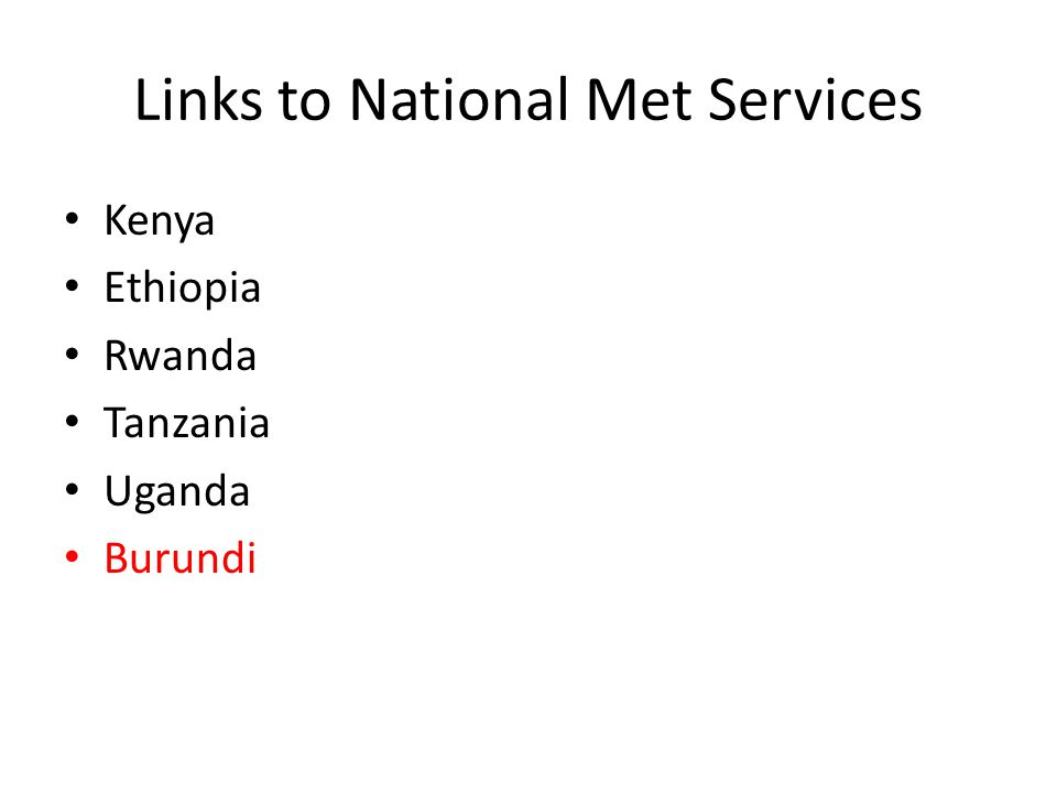 Links to National Met Services