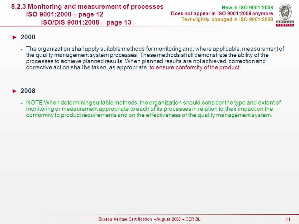 8.2.3 Monitoring and measurement of processes ISO 9001:2000 – page 12 ISO/DIS 9001:2008 – page 13