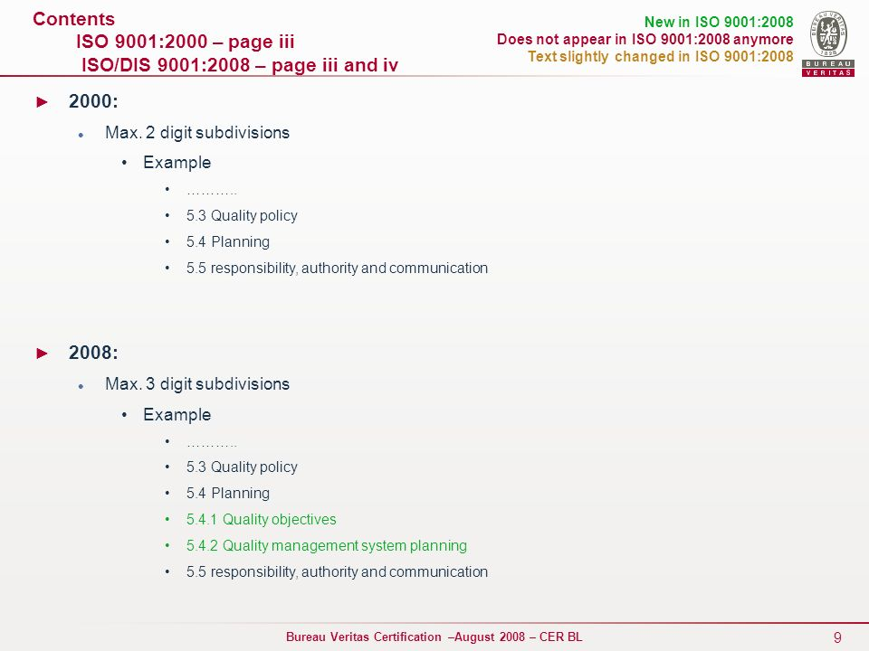 Contents ISO 9001:2000 – page iii ISO/DIS 9001:2008 – page iii and iv