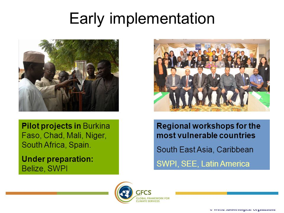 Early implementation Pilot projects in Burkina Faso, Chad, Mali, Niger, South Africa, Spain. Under preparation: Belize, SWPI.