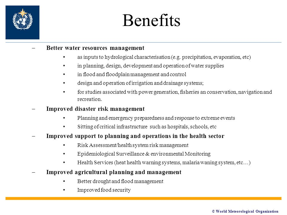 Benefits Better water resources management