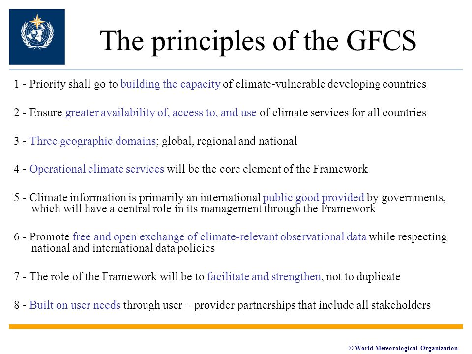 The principles of the GFCS