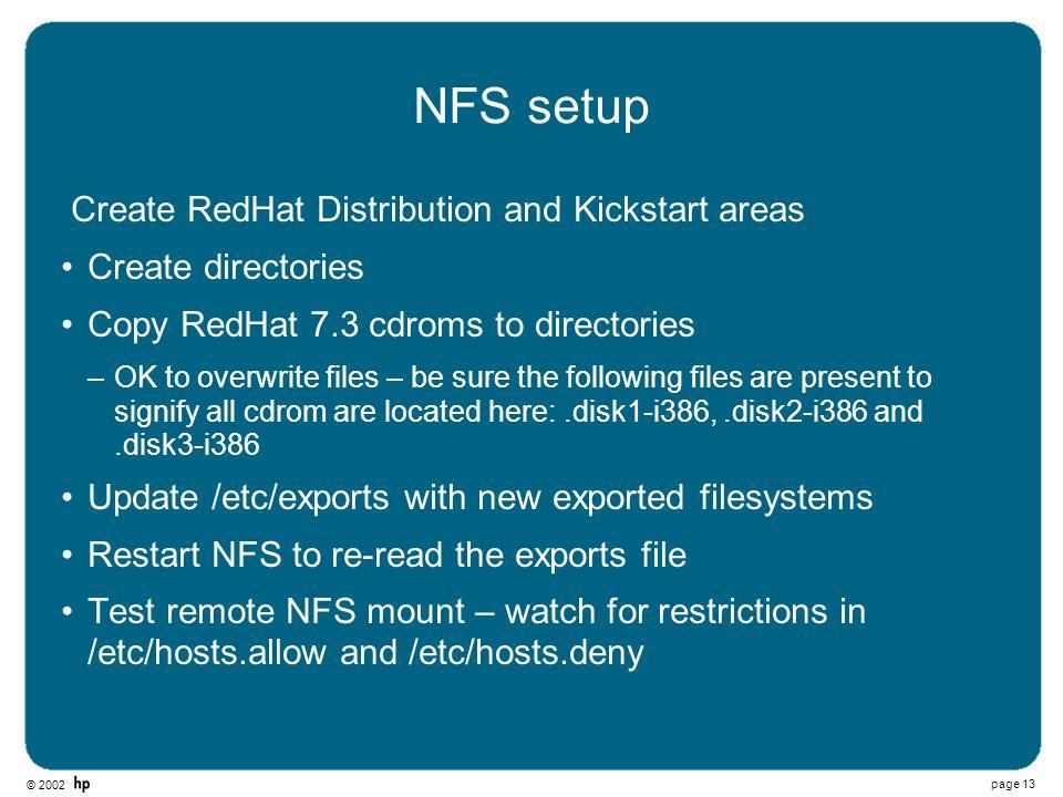 NFS setup Create RedHat Distribution and Kickstart areas