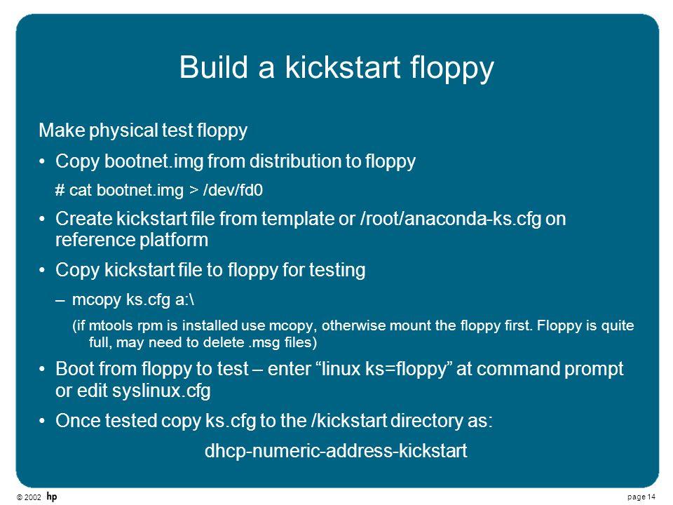 Build a kickstart floppy