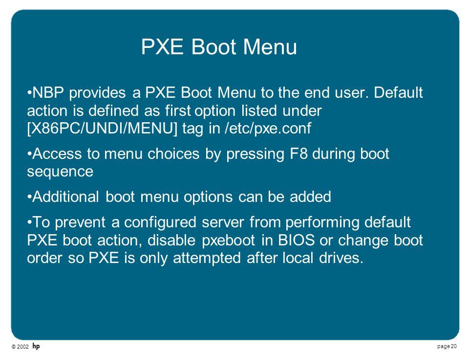 PXE Boot Menu