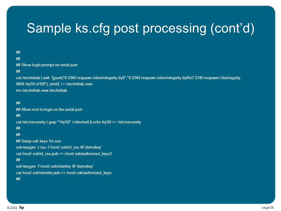 Sample ks.cfg post processing (cont'd)