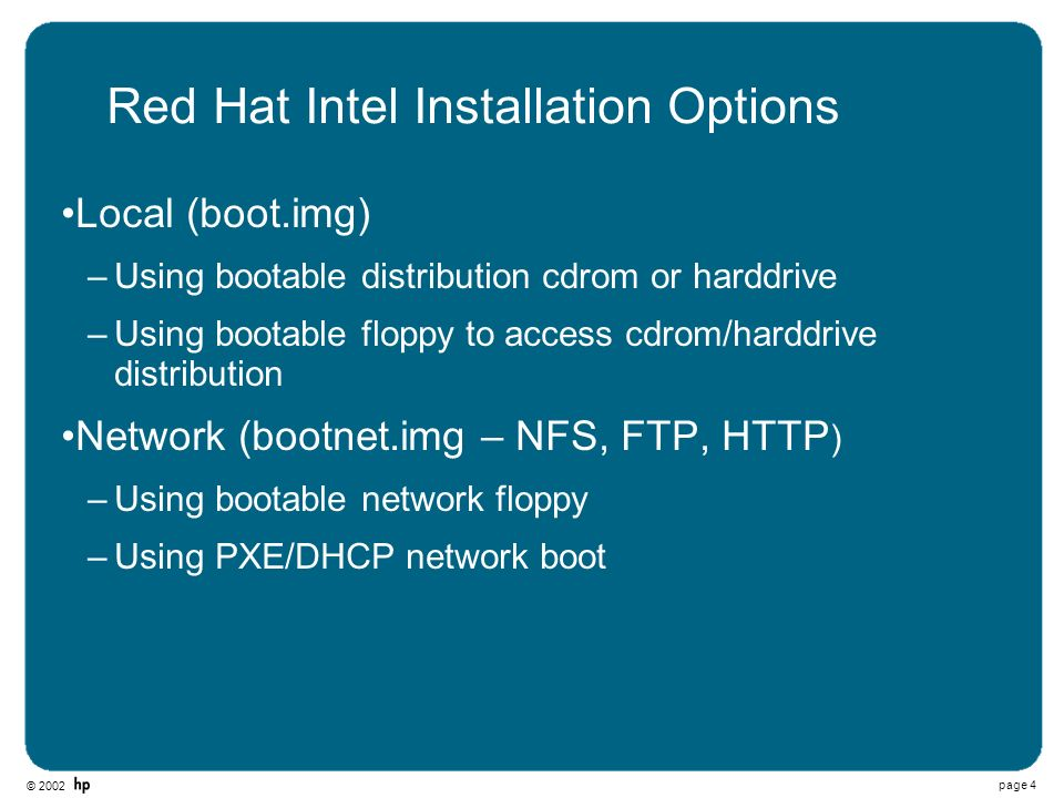 Red Hat Intel Installation Options
