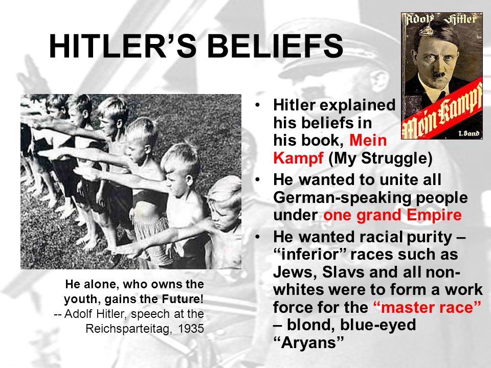 HITLER'S BELIEFS Hitler explained his beliefs in his book, Mein Kampf (My Struggle)