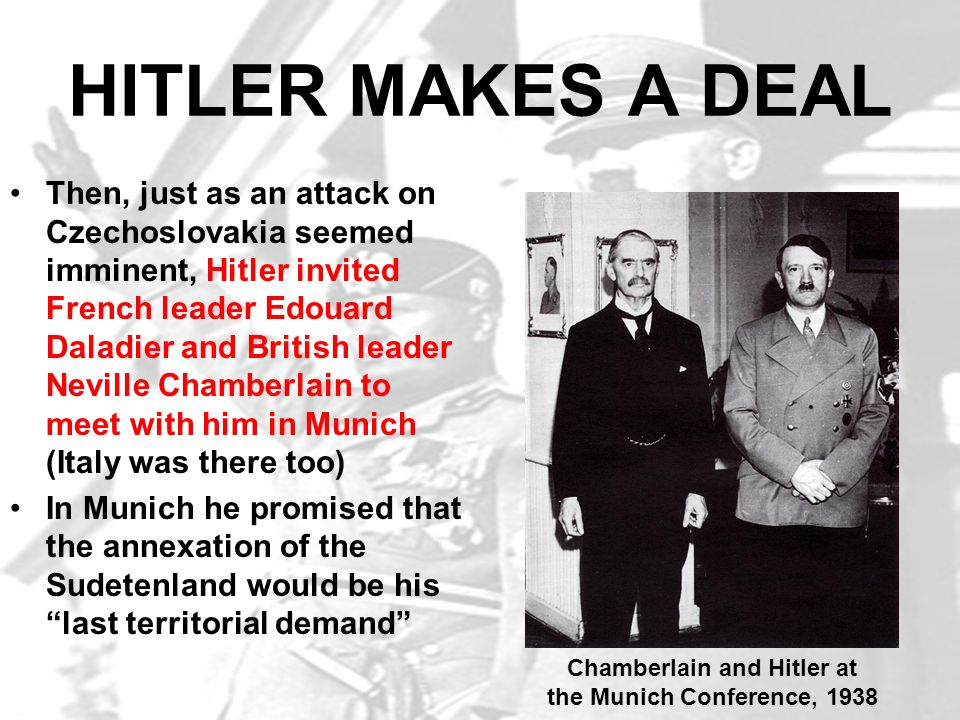 Chamberlain and Hitler at the Munich Conference, 1938