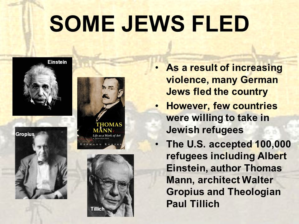 SOME JEWS FLED Einstein. As a result of increasing violence, many German Jews fled the country.
