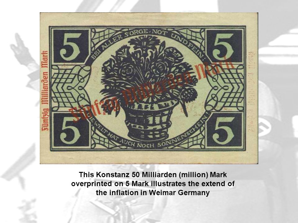 This Konstanz 50 Milliarden (million) Mark overprinted on 5 Mark illustrates the extend of the inflation in Weimar Germany