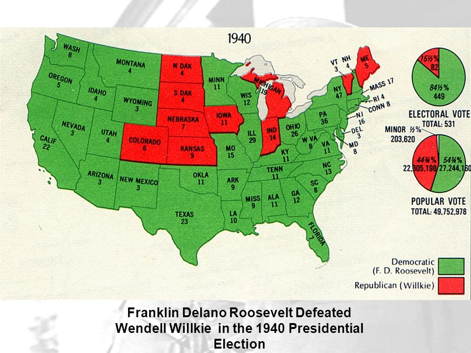 Franklin Delano Roosevelt Defeated Wendell Willkie in the 1940 Presidential Election