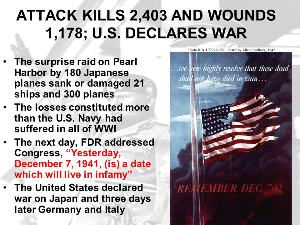 ATTACK KILLS 2,403 AND WOUNDS 1,178; U.S. DECLARES WAR
