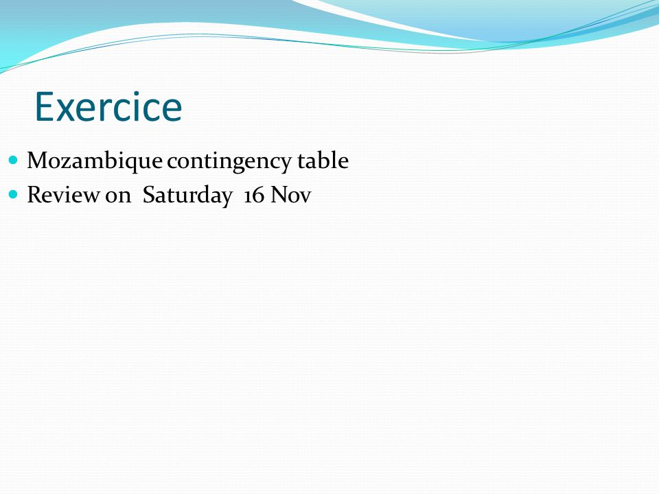 Exercice Mozambique contingency table Review on Saturday 16 Nov