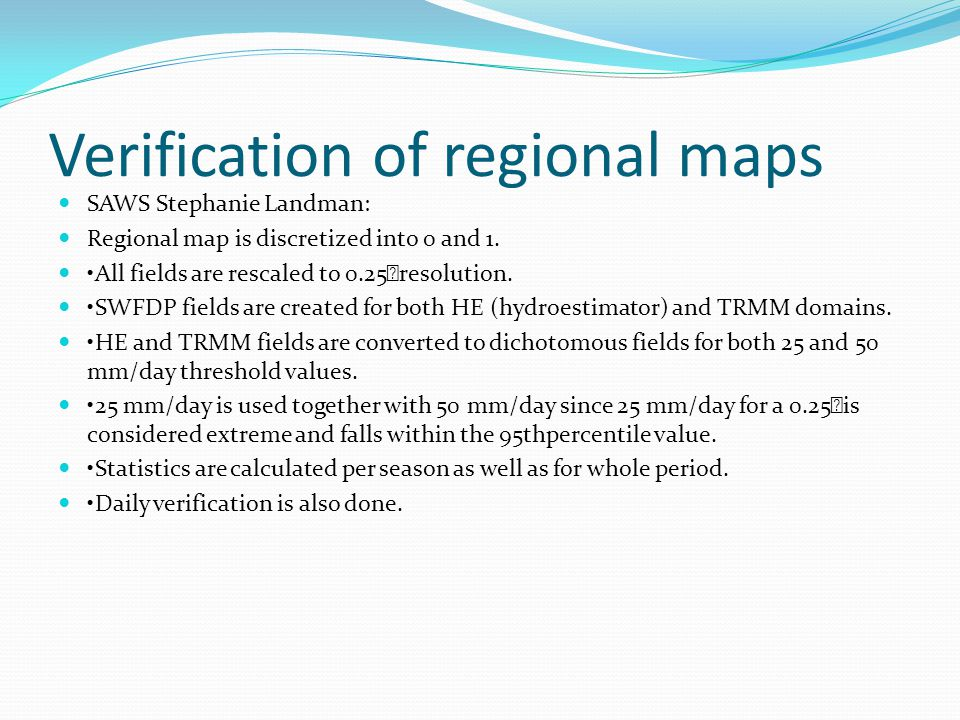 Verification of regional maps