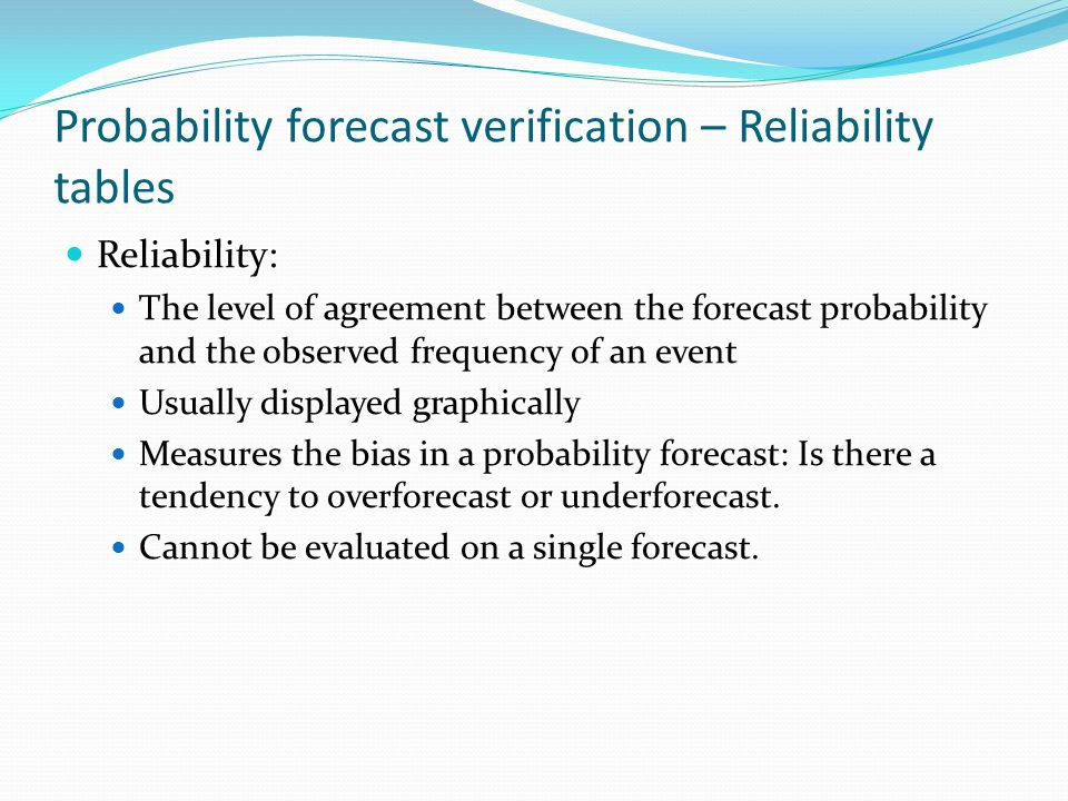 Probability forecast verification – Reliability tables