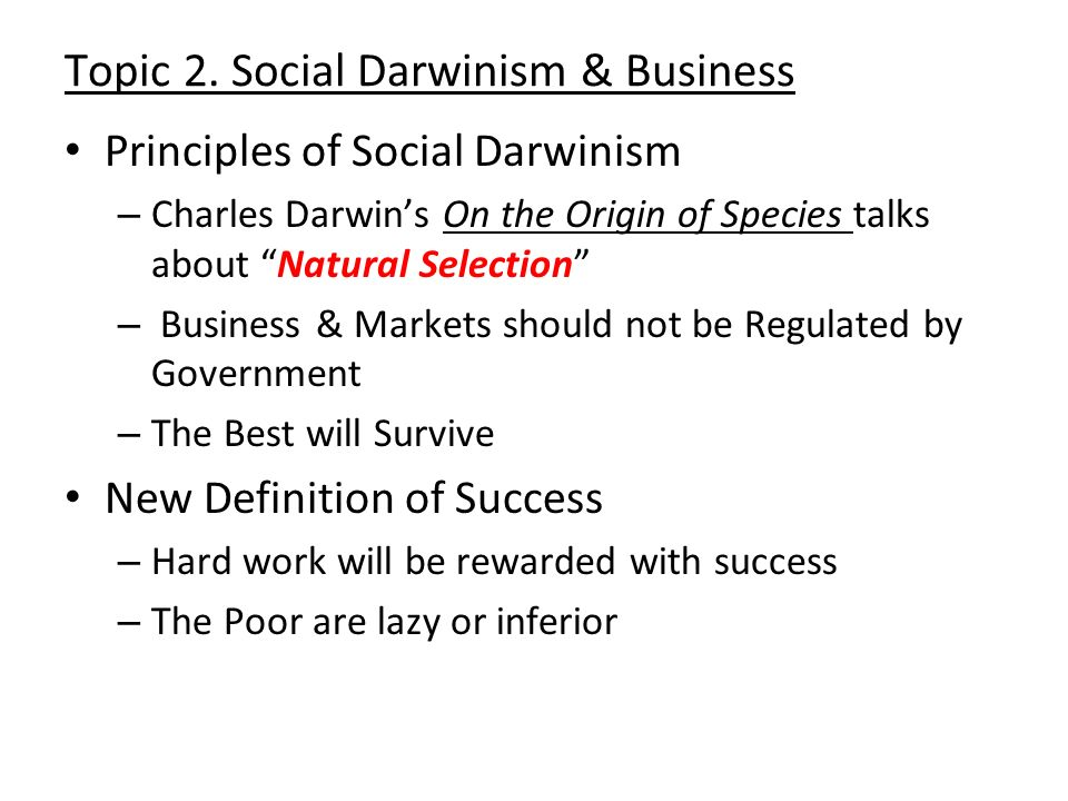 Topic 2. Social Darwinism & Business