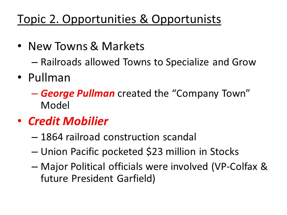 Topic 2. Opportunities & Opportunists