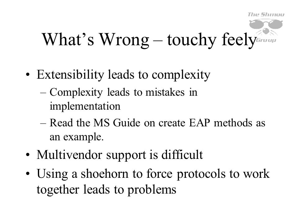 What's Wrong – touchy feely