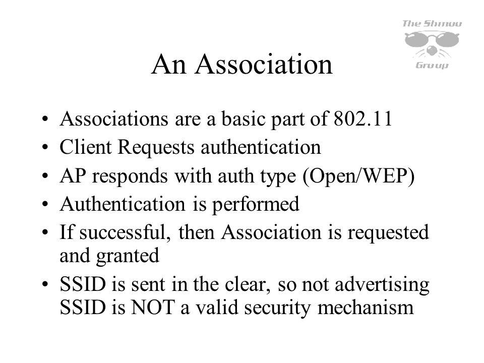 An Association Associations are a basic part of 802.11