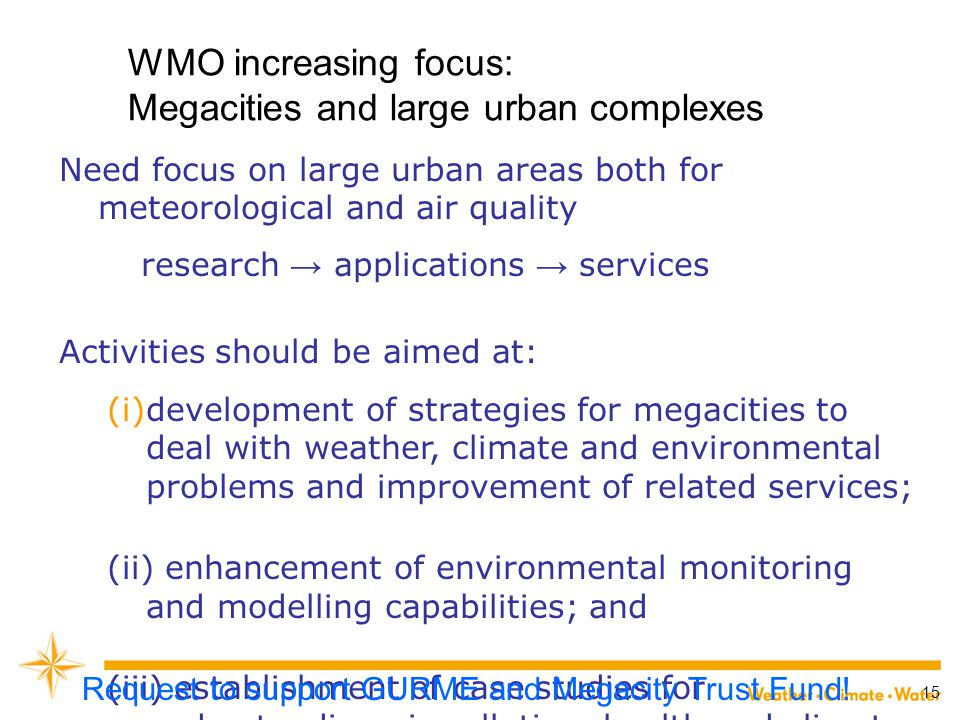 WMO increasing focus: Megacities and large urban complexes