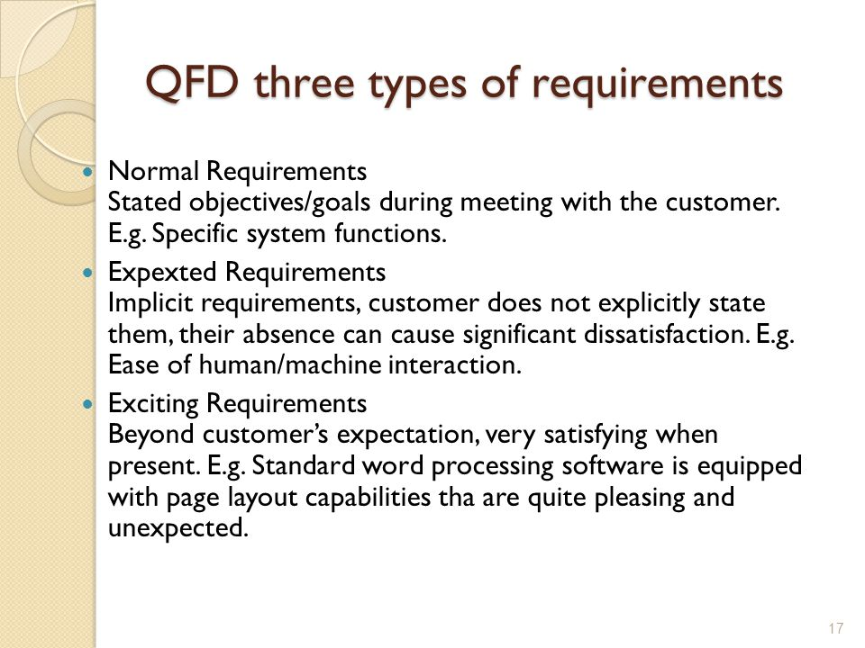 QFD three types of requirements