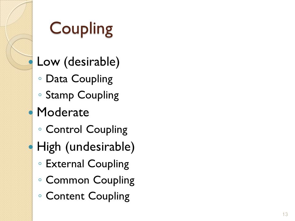 Coupling Low (desirable) Moderate High (undesirable) Data Coupling