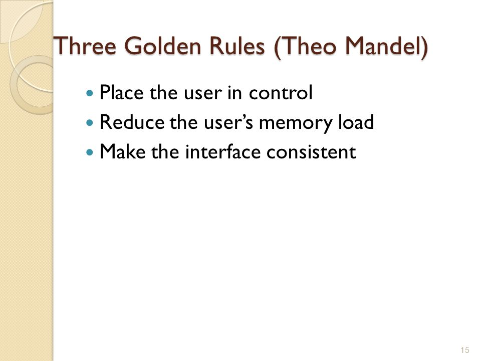 Three Golden Rules (Theo Mandel)