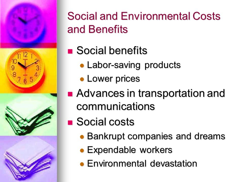 Social and Environmental Costs and Benefits