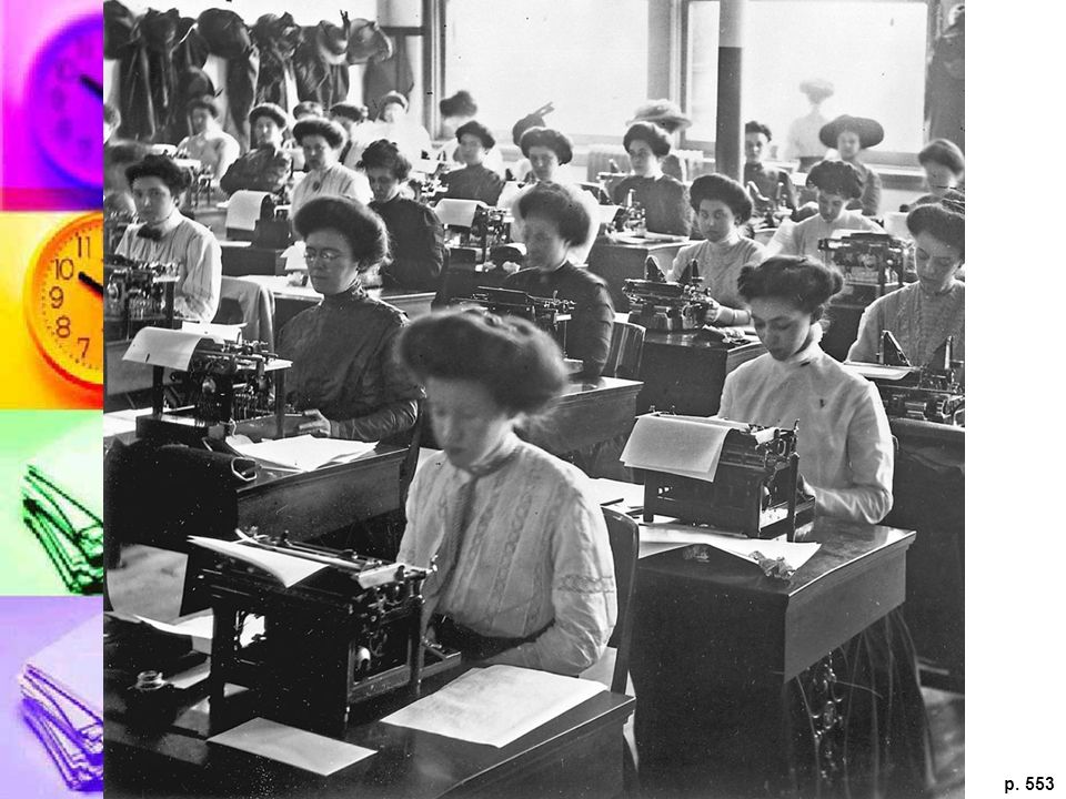 WOMEN IN THE WORKPLACE The women in this photograph are testing their typing skills at a civil service exam in Chicago in the 1890s. The expansion of banking, insurance, and a variety of other businesses opened up new career opportunities for women as secretaries, stenographers, and typists.