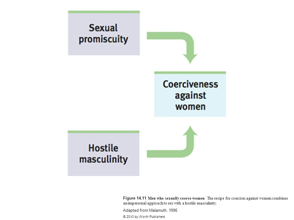 Figure 14.11 Men who sexually coerce women The recipe for coercion against women combines an impersonal approach to sex with a hostile masculinity.