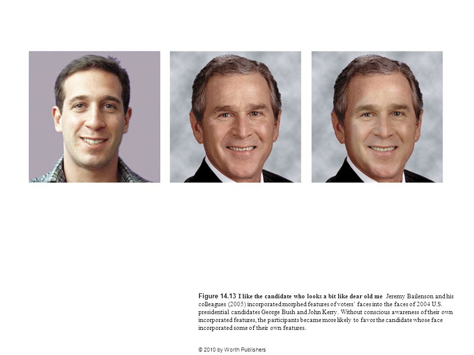 Figure 14.13 I like the candidate who looks a bit like dear old me Jeremy Bailenson and his colleagues (2005) incorporated morphed features of voters' faces into the faces of 2004 U.S. presidential candidates George Bush and John Kerry. Without conscious awareness of their own incorporated features, the participants became more likely to favor the candidate whose face incorporated some of their own features.