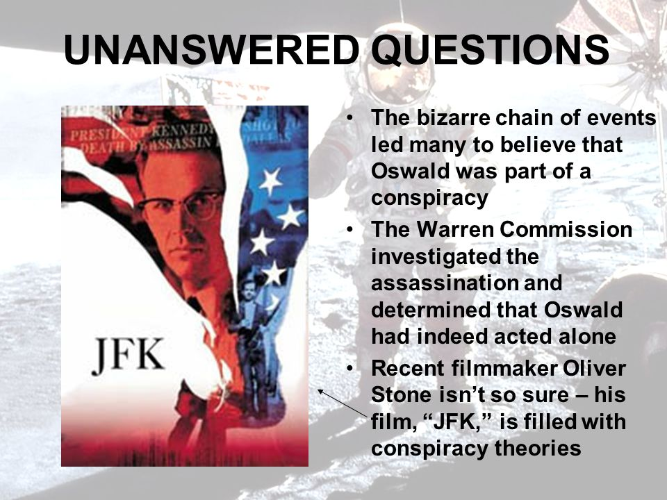 UNANSWERED QUESTIONS The bizarre chain of events led many to believe that Oswald was part of a conspiracy.