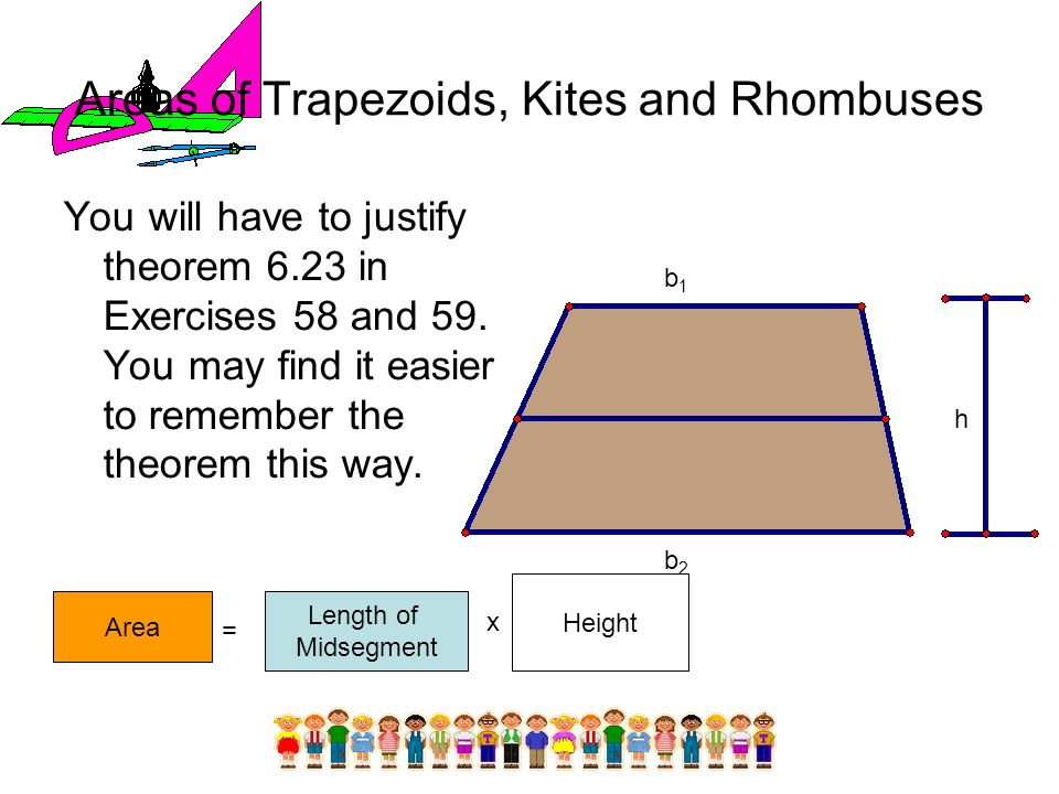 Areas of Trapezoids, Kites and Rhombuses