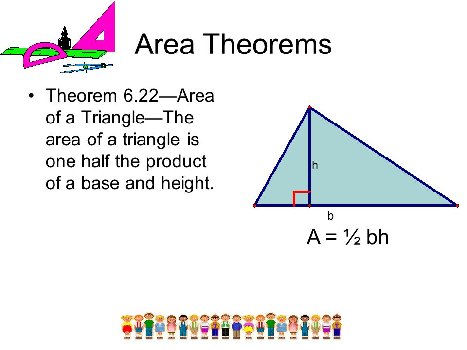 Area Theorems Theorem 6.22—Area of a Triangle—The area of a triangle is one half the product of a base and height.