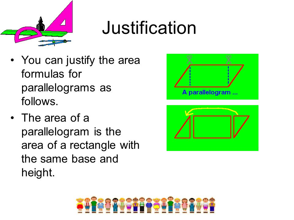 Justification You can justify the area formulas for parallelograms as follows.